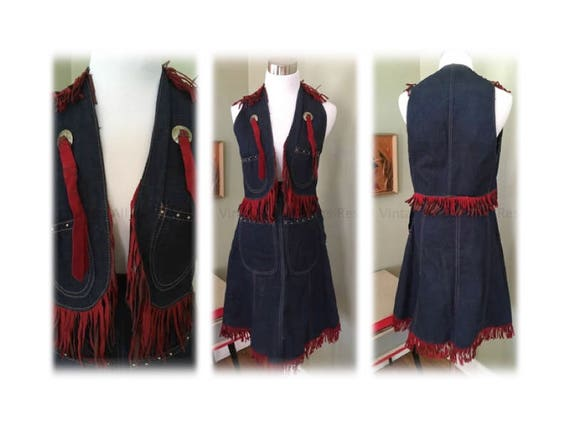 1950s Cowgirl Two Piece Denim Skirt and Vest Western Wear with Red Leather Fringe Studded Front Pockets Side Metal Zipper with Snap Waist