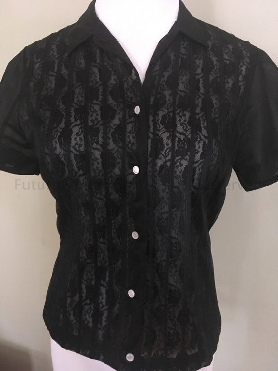 1950s 1960s GLENWEAR Black Sheer Illusion Short Sleeve Button Down Blouse-XS S