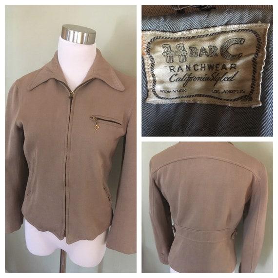 1940s H BAR C Ranchwear Light Brown Gabardine Zip Up Jacket with Pockets Adjustable Buckle Waist Side-XS S