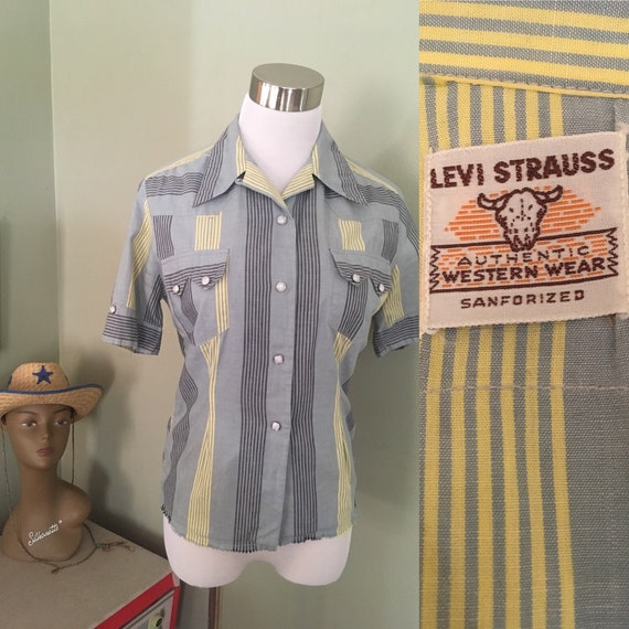 "1950s Levi Strauss Authentic Western Wear Gray and Yellow Striped Pearl Snap Short Sleeve Shirt-S 36"" Bust"