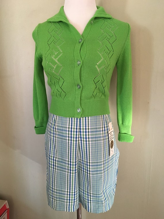 "1950s Tailored in Japan Green and Blue Plaid High Waist Cotton Shorts New with Tags-32"" waist"