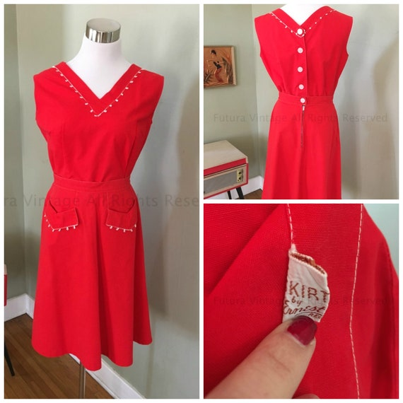 1950s 1960s Adorable ERNEST DONATH Bright Red 2 Piece Cotton Top and Skirt Outfit Set-S