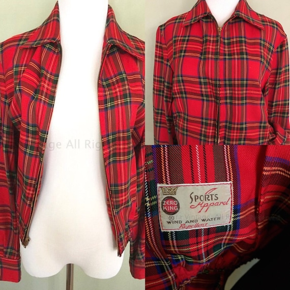 1950s Zero King Sports Apparel Red Plaid Jacket Fitted Waist Cuffed Sleeves Pockets Inside and Out Zip Front S M