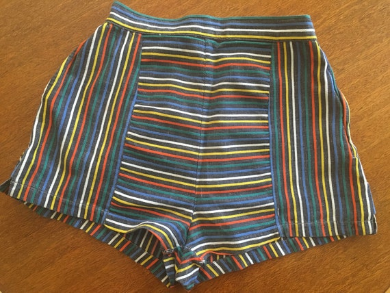 1950s CYCLONE Paris Fun Colorful Striped High Waist Cotton Shorts with Side Metal Zipper and Pocket-XS