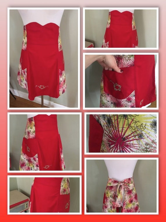 1950s Amazing Red Starburst Atomic Print Apron with Pockets