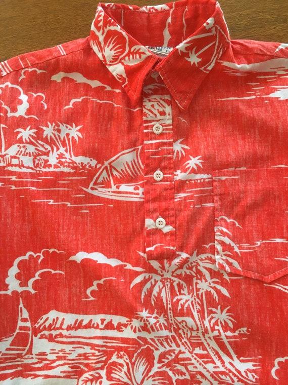 1960s Kole Kole Red Hawaiian Pullover Cotton Shirt Boys Size 14