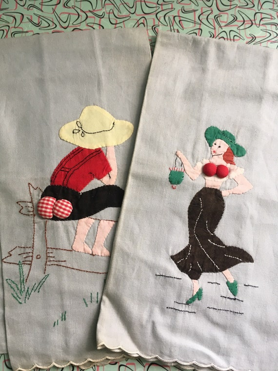 1940s Adorable Novelty Tea Towels Hillbilly Woman on Fence & Fashionista-New Old Stock