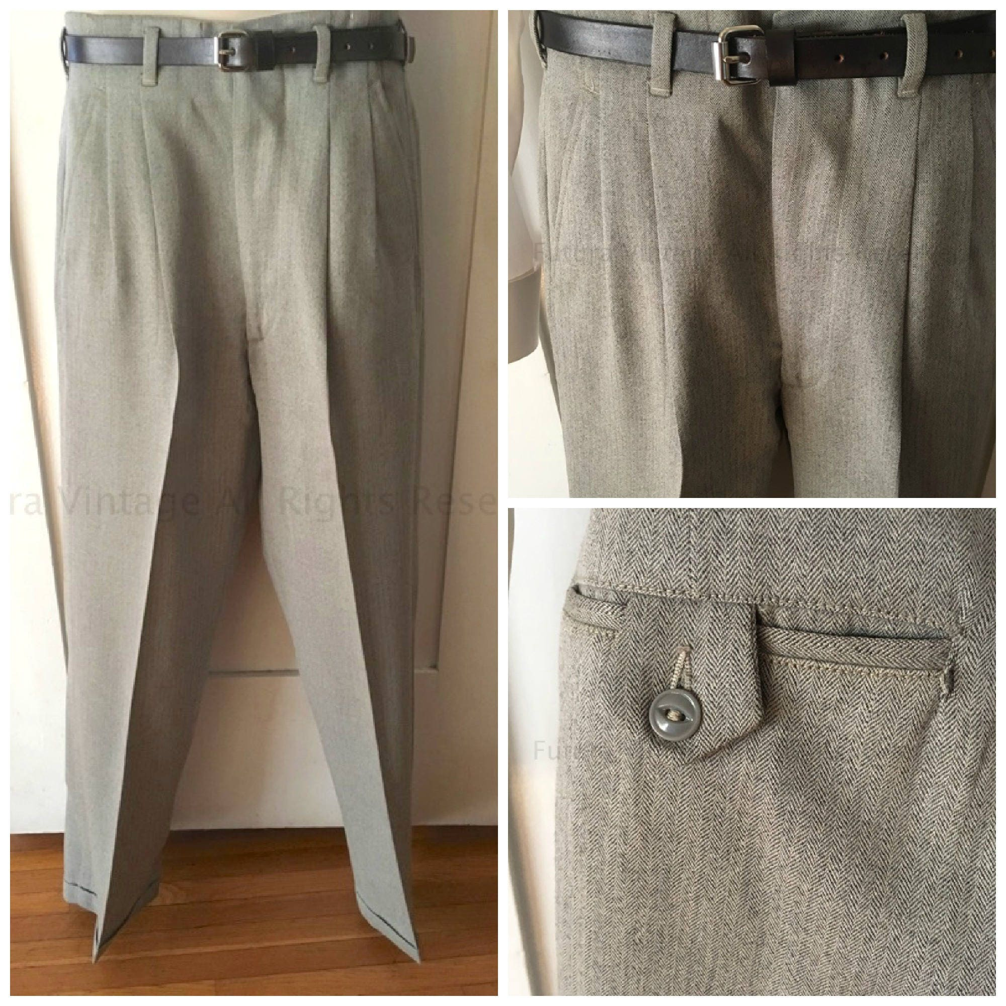 1940s 1950s Mens Gray Fine Wool High Waist Pleated Suit Pants