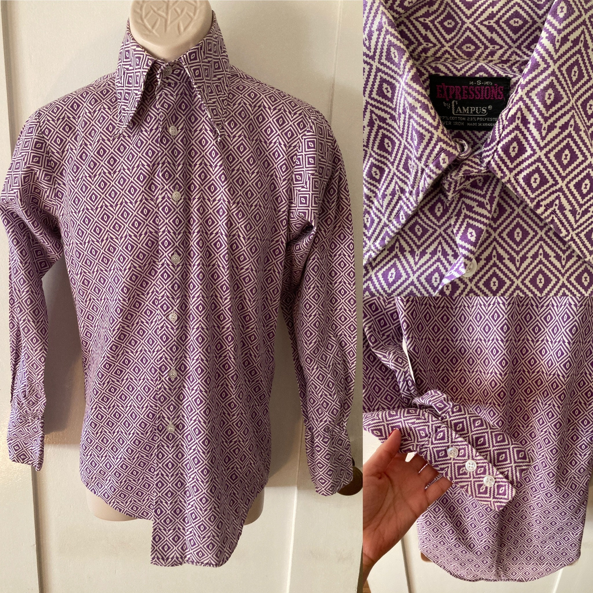 1970s Men's Shirt Styles – Vintage 70s Shirts for Guys 1960S 1970S Expressions By Campus-Purple  White Diamond Print Cotton Blend Button Up Shirt-Size S $37.80 AT vintagedancer.com
