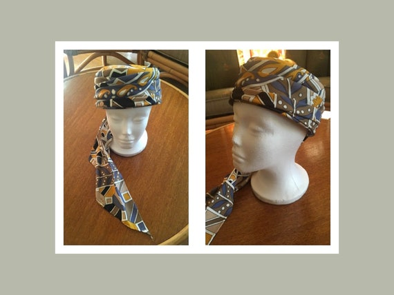 1960s Lovely Handmade Floral Pillbox Scarf Hat