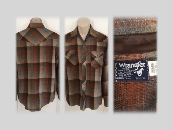 1980s Classic WRANGLER Brown Plaid Wool Blend Pearl Snap Western Shirt Made in U.S.A.-M