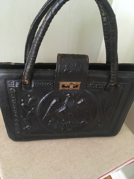 1940s Magnificent Black Hand Tooled Leather Mayan Themed Handbag with Zipper Closure Pockets