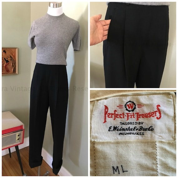 1940s 1950s Black High Waist Perfect Fit Trousers by E. Weinshel Bro Co Milwaukee-S