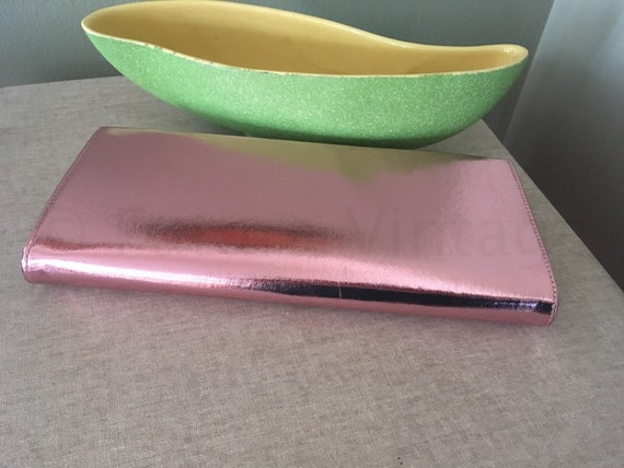 1950s Pink Lamé Shimmer Clutch Purse Evening Cocktail Fancy Wedding