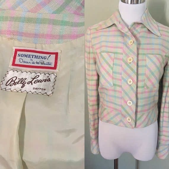 1970s Oscar De La Renta Something! Pastel Color High Waist Poly Linen Jacket Fully Lined-XS S