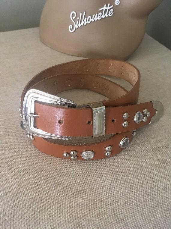 "Vintage Brown Jeweled Studded Western Cowgirl Adjustable Genuine Leather Belt 28""-32"" Waist"