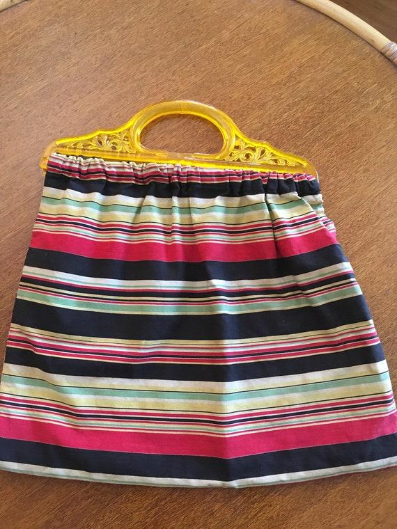1940s Unique Serape Stripe Multi Color Large Handbag  with Lucite Handle
