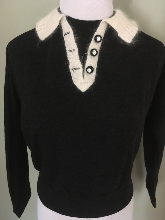 1950s PETTI Charcoal Gray Pullover Knit Dolman Sleeve Sweater Top-S M