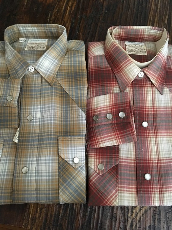 1960s Old Kentucky Western Wear Plaid Shirts Red Plaid or Brown Plaid Pearl Snaps Size 15-33 New Old Stock