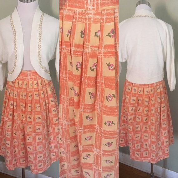 "1950s Fun in the Sun Peach Color Cotton Floral Print Lightly Pleated Skirt-23""-24"" Waist XS"