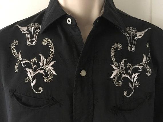 1960s H BAR C Ranchwear Black Western Shirt Silver Longhorn Embroidery Pearl Snaps Long Sleeve Arrow Pockets-15 15 1/2