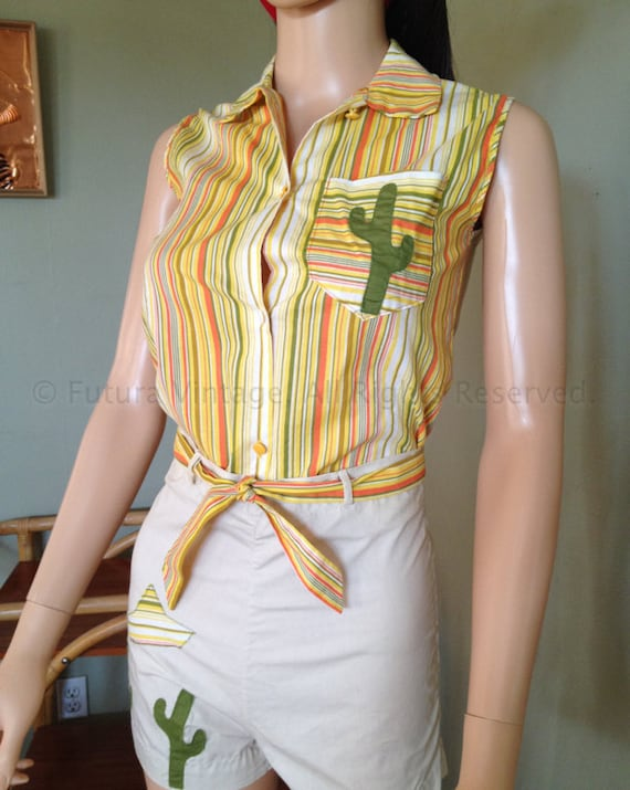 1950s Novelty Cactus Sombrero Two Piece Outfit Striped Sleeveless Top and Shorts with Tie Belt XS
