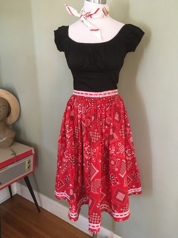 1950s 1960s Cowgirl Red & Black Bandana Print Full Cotton Skirt-Waist 30""