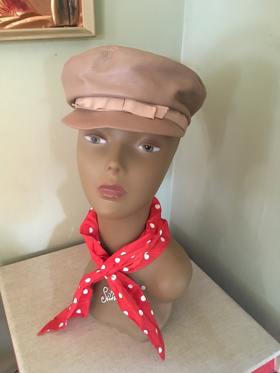 1960s Adorable AMY New York Tan Leather Mod Cap with Bow Accent