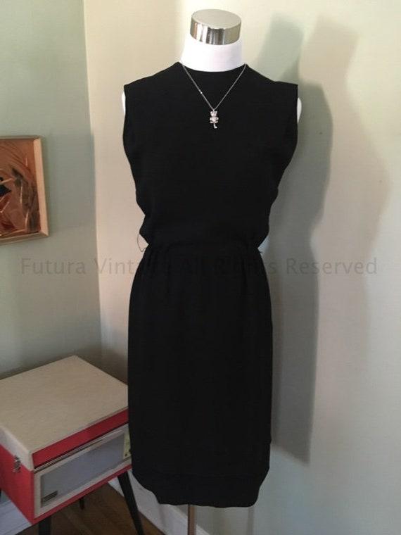 1960s R & K Originals Classic Evening Wear Sleeveless Black Cocktail  Dress-S