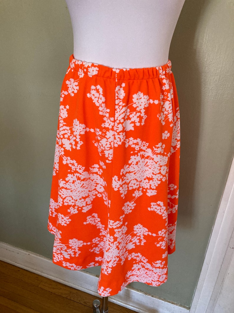 1960s Fabulous /'Leslie Fay Knits/' Bright Orange and White Floral 3 Piece Set-ML