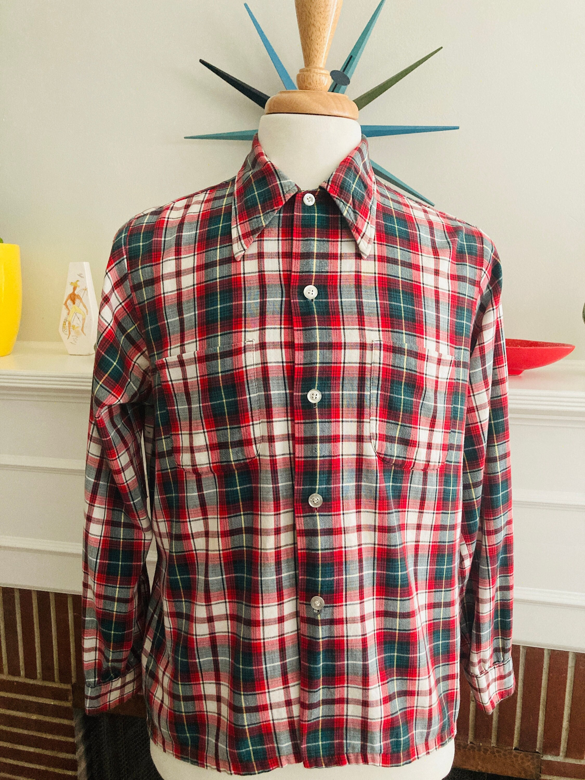 1940s Men's Shirts, Sweaters, Vests 1940S Classic May Co Mens Buffalo Plaid Long Sleeve Pocketed Rayon Shirt-Size M $75.00 AT vintagedancer.com