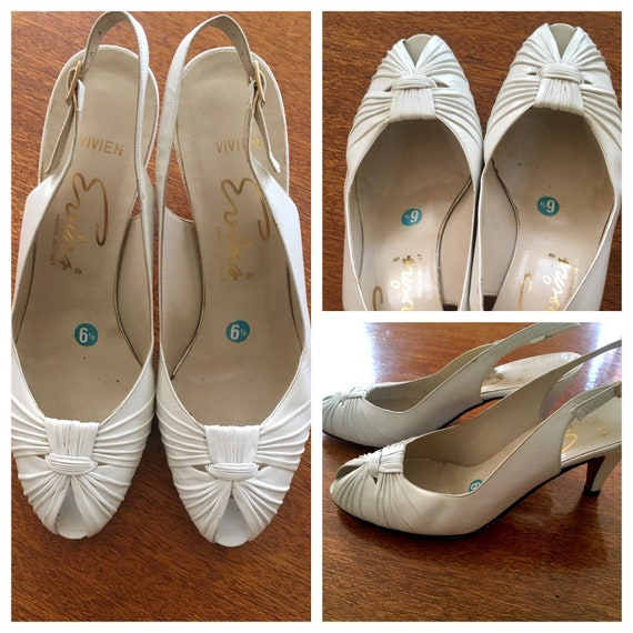 1960s Lovely EVINS Made in Italy White Leather Peep Toe Sling Back Heels Sz 6 6.5 N