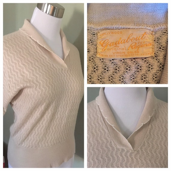 """1950s Hollywood Gadabout by Regina Tan Pullover Sweater Knit Top with Scallop Accent-M 36"""" Bust"""
