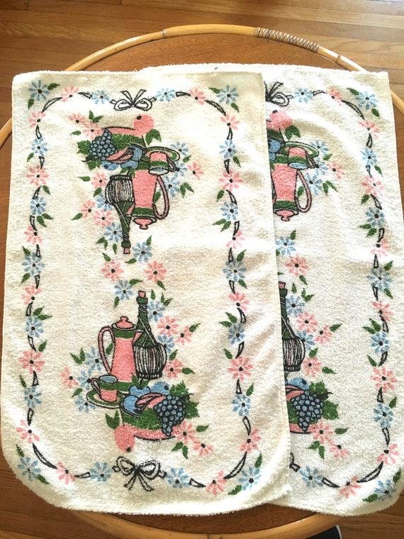 1950s STARTEX Wonder-Dri Terry Cloth Kitchen Bar Towels Wine Bottle Coffee Pot Grapes Set of 2