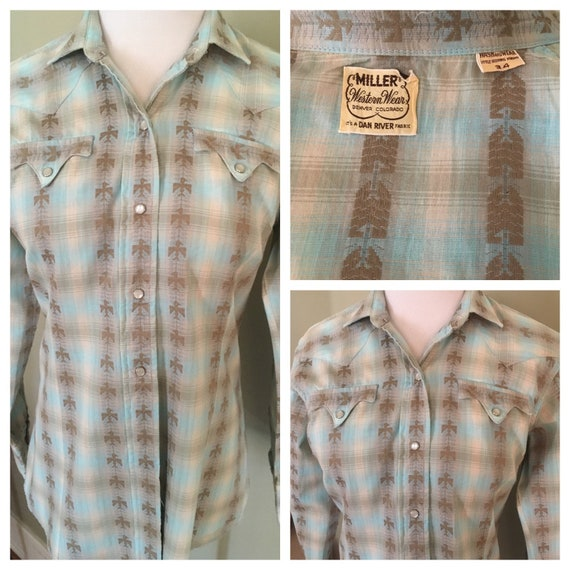 1950s 1960s Miller Western Wear Thunderbird Long Sleeve Pearl Snap Cowgirl Shirt-Size 34-S
