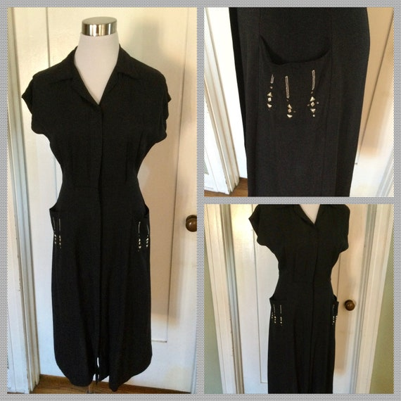 1940s 1950s Amazing Charcoal Gray Zipper Front Stu