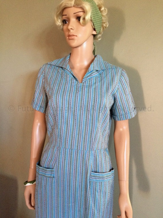 1940s 1950s Classic Blue Striped Short Sleeve Nubbed Cotton Dress -M
