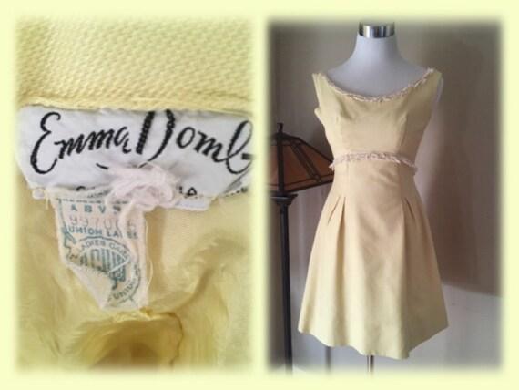 1960s EMMA DOMB Yellow Fringe Sleeveless Dress-XS