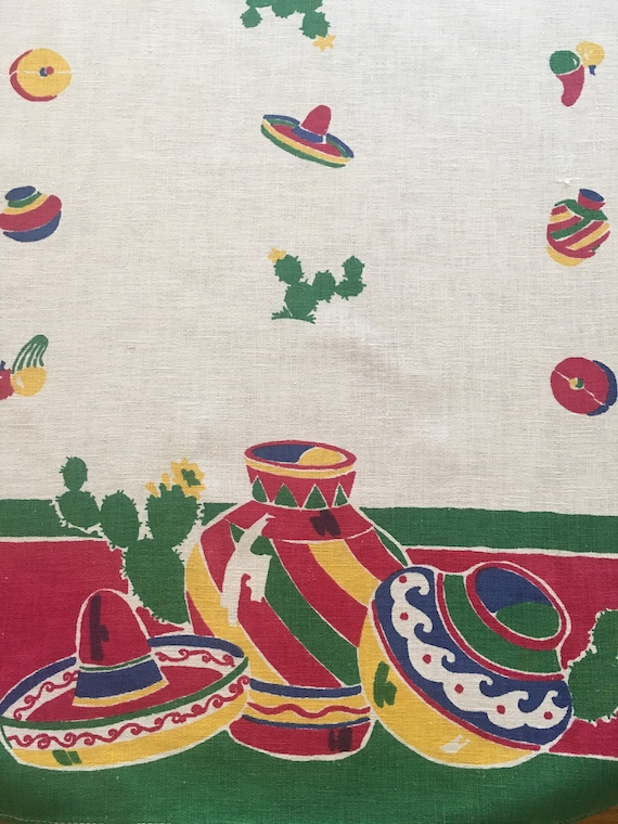 1940s 1950s STARTEX Mexico Novelty Theme Table Runner-Sombreros Cactus Pottery Fruit Chili Pepper