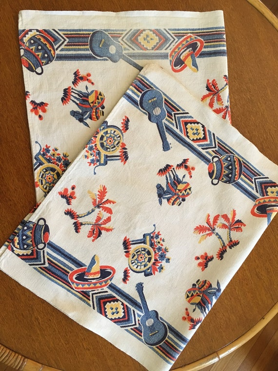 1940s 1950s STARTEX Pair of Mexico Novelty Theme Kitchen TeaTowels-Guitars Donkeys Sombreros Palm Trees