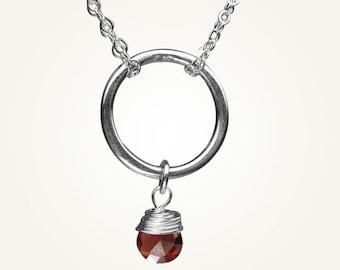 Garnet Necklace, January Birthstone, Garnet Pendant, Orbit Necklace