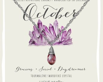 October Birthstone - October Birthstone Necklace - October Jewelry - Birthstone Necklace - Birthstone Jewelry - Swarovski Necklace