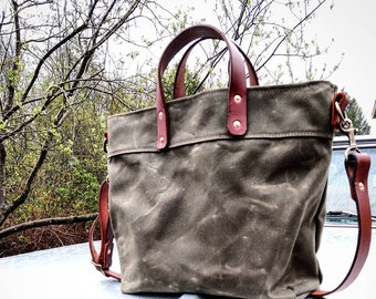 Quartermaster Harbor - Waxed Canvas Zip Top Tote with Leather Grab Handles and Adjustable Cross Body Strap