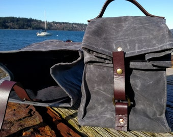 Gray Waxed Canvas, Cordura, and Leather Reusable Insulated Lunch Bag