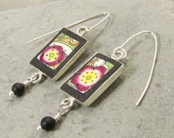 Burgundy and Yellow Broken China Earrings   - Upcycled Jewelry