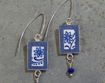Blue and White Earrings with Drops - Vintage China Jewelry