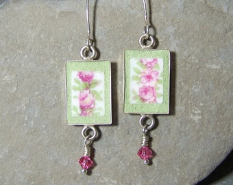 Pink Rose Bud Earrings with Crystal Drops - Mosaic Jewelry