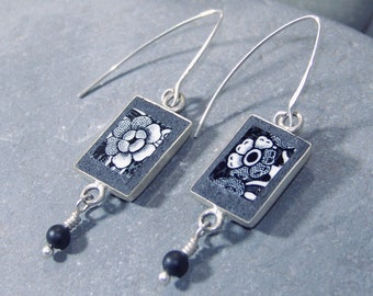 Floral Black and White Earrings with Drops - Broken Ceramic Jewelry