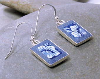 Blue and White Transferware Earrings - Staffordshire broken china plate