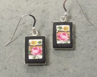 Broken China Earrings Pink Floral with leaves and flowers  - Cracked Plate Jewelry